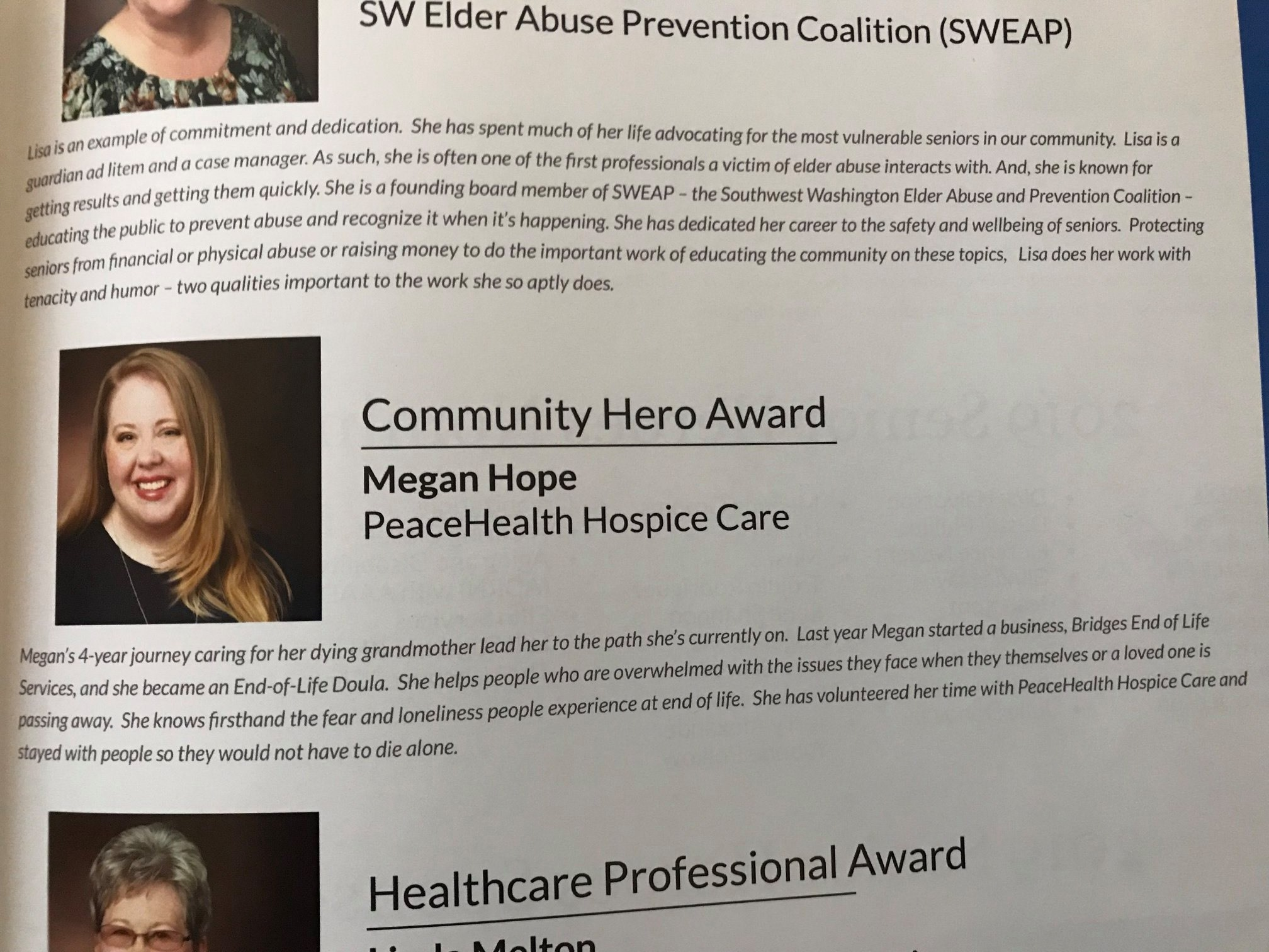 Meagan in the Senior Hero Awards of Clark County Program